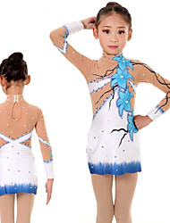 cheap -Rhythmic Gymnastics Leotards Artistic Gymnastics Leotards Women's Girls' Leotard Sky Blue Spandex High Elasticity Handmade Print Jeweled Long Sleeve Competition Ballet Dance Ice Skating Rhythmic