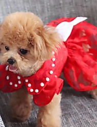 cheap -Dogs Cats Pets Dress Dog Clothes Red Costume Polyster Embroidered Princess Wedding XS S M L