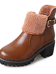 cheap -Women's Boots Chunky Heel Round Toe PU Booties / Ankle Boots Casual Fall Black / Brown / Red
