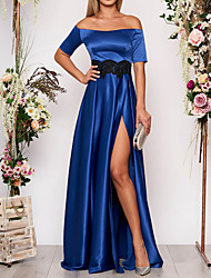 cheap -A-Line Off Shoulder Floor Length Satin Elegant Formal Evening Dress with Sash / Ribbon / Split Front 2020