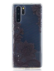 cheap -Case For Huawei P30 / Huawei P30 Pro / Huawei P30 Lite Pattern Back Cover Black Flower TPU for Huawei Y6(2019) / Y7(2019)