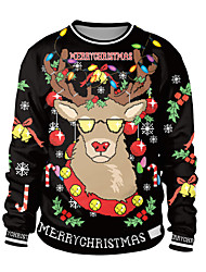 cheap -Santa Suit Ugly Christmas Sweater / Sweatshirt Adults' Couple's Stylish Christmas Halloween Festival / Holiday Spandex Polyester Black / Green / Dark Navy Couple's Easy Carnival Costumes / Top / Top