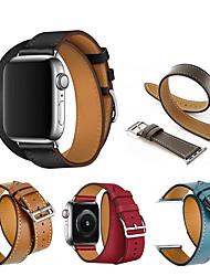 Недорогие -ремешок для часов из натуральной кожи с двойным ремешком для часов Apple серии 5 4 3 2 1