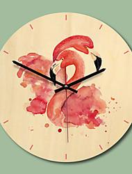 cheap -M.Sparkling 11 Inch Fashion Wall Clock Kids Room Decorative Wall Clock Flamingos Cartoon Wooden Wall Clock Home Decoration
