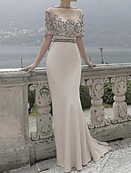 cheap -Sheath / Column Boat Neck Sweep / Brush Train Polyester Elegant Formal Evening Dress with Appliques 2020