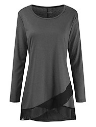cheap -Women's Daily Basic Tunic - Solid Colored / Color Block Black & Red / Black & Gray, Patchwork Wine