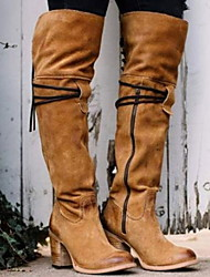 cheap -Women's Boots Over-The-Knee Boots Chunky Heel Round Toe Suede Over The Knee Boots Fall & Winter Black / Yellow / Red