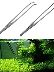 cheap -2pcs Stainless Steel Tank Tweezers Pliers Aquarium Tool Fish Tank Aquatic Plants Forceps Clip For Cleaning Tool
