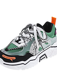 cheap -Women's Athletic Shoes Flat Heel Round Toe Stitching Lace PU Casual Walking Shoes Fall & Winter Black / Yellow / Green