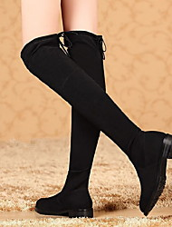 cheap -Women's Boots Over-The-Knee Boots Flat Heel Round Toe Sheepskin Over The Knee Boots Fall & Winter Black
