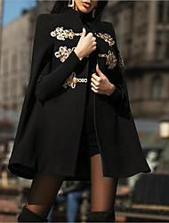 abordables -Femme Quotidien Longue Manteau, Couleur Pleine Mao Manches Longues Polyester Noir