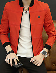 cheap -Men's Daily / Beach Spring &  Fall / Fall Regular Jacket, Solid Colored Stand Long Sleeve Polyester Black / Orange / Green