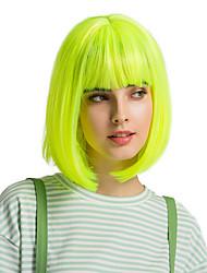 cheap -Synthetic Wig Bangs Straight Natural Straight Bob Pixie Cut Short Bob Wig Medium Length fluorescent green Synthetic Hair 12 inch Women's Cute Cosplay Women Green HAIR CUBE
