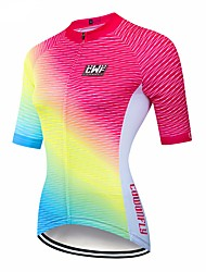 abordables -CAWANFLY Femme Manches Courtes Maillot Velo Cyclisme Rouge / jaune. Pente Cyclisme Maillot Hauts / Top VTT Vélo tout terrain Vélo Route Respirable Séchage rapide Poche arrière Des sports Térylène