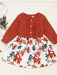 cheap -Toddler Girls' Floral Dress Brown