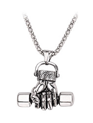 cheap -Men's Pendant Necklace Geometrical Dumbbell Casual / Sporty Chrome Silver 50 cm Necklace Jewelry 1pc For Gift