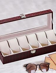 Недорогие -6 слотов кожаные часы витрина органайзер стекло хранения ювелирных изделий