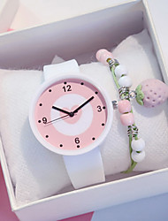 cheap -Women's Quartz Watches Heart shape New Arrival White Pink Silicone Chinese Quartz White Blushing Pink Chronograph Cute New Design 2pcs Analog One Year Battery Life