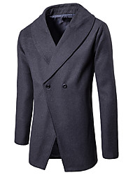 cheap -Men's Daily / Work Street chic Fall & Winter Regular Trench Coat, Solid Colored Turndown Long Sleeve Polyester Black / Gray