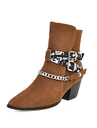 cheap -Women's Boots Print Shoes Chunky Heel Square Toe Buckle Suede Mid-Calf Boots British Fall & Winter Black / Brown / Beige / Party & Evening / Color Block