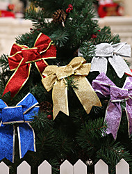 cheap -5pcs Gold / Silver / Red / Purple Christmas Bow  For New Year Christmas Home Decorations
