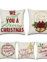 cheap -Christmas Bells English Words Car Hug Pillowcase Decorative Pillowcase Nordic Style Linen Home Decoration