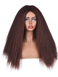 cheap -Synthetic Wig Curly Middle Part Wig Long Dark Auburn Synthetic Hair 18 inch Women's Women Brown