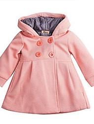 Недорогие -малыш Девочки Классический Однотонный Тренч Розовый