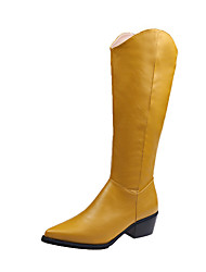 cheap -Women's Boots Knee High Boots Block Heel Pointed Toe Sequin PU Knee High Boots Casual Walking Shoes Fall & Winter Black / Yellow