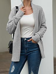 cheap -Women's Solid Colored Long Sleeve Cardigan Sweater Jumper, Bandeau Fall / Winter Gray / Khaki S / M / L
