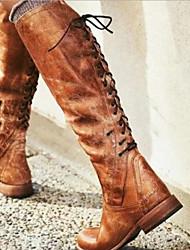 cheap -Women's Boots Knee High Boots Flat Heel Round Toe PU Knee High Boots Fall & Winter Black / Brown