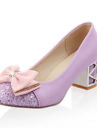 cheap -Women's Heels Chunky Heel Round Toe Bowknot / Sequin Synthetics Spring &  Fall Black / Light Purple / Pink