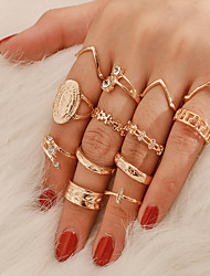 cheap -Ring Retro Gold Rhinestone Alloy Flower Shape Classic Vintage Trendy 13pcs 11 / Women's / Ring Set