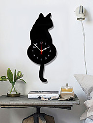 cheap -M.Sparkling White/Black Wagging Tail Cat Wall Clock Kitchen Modern Design  Decoration