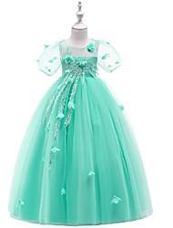 cheap -Kids Girls' Jacquard Lace Mesh Dress Wine