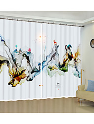 cheap -Blue Modern Ink Painting Creative Environmental Protection Digital Printing 3D Curtain Shade Curtain High Precision Black Silk Fabric High Quality First-class Shade Bedroom Living Room Curtain