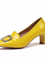 cheap -Women's Heels Chunky Heel Square Toe PU Spring &  Fall Black / Almond / White