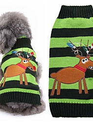 cheap -Dog Sweater Stripes Christmas Reindeer Halloween Christmas Winter Dog Clothes Green Costume Acrylic Fibers XXS XS S M L XL
