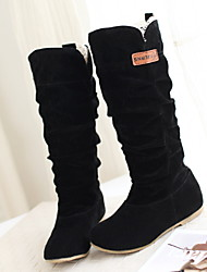 cheap -Women's Boots Flat Heel Round Toe Suede Mid-Calf Boots Fall & Winter Black / Brown / Coffee