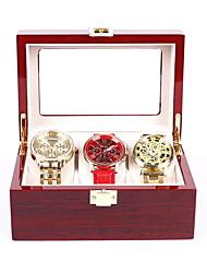 cheap -3 Slots Watch Box Cherry Watch Display Case Storage Organizer