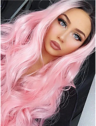 cheap -Synthetic Lace Front Wig Body Wave Middle Part Lace Front Wig Pink Ombre Long Black / Pink Synthetic Hair 18-24 inch Women's Synthetic Easy dressing Hot Sale Pink Ombre / Natural Hairline