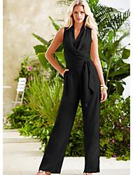 Недорогие -Жен. Черный Широкие Комбинезоны Комбинезон-пижама, Однотонный S M L