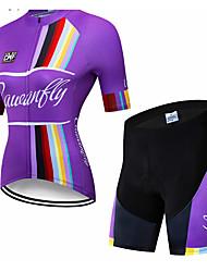 abordables -CAWANFLY Femme Manches Courtes Maillot et Cuissard Velo Cyclisme Bleu Géométrique Cyclisme Ensembles de Sport VTT Vélo tout terrain Vélo Route Respirable Séchage rapide Poche arrière Des sports Hiver