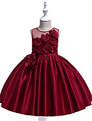 cheap -Kids Girls' Cute Butterfly Solid Colored Bow Embroidered Sleeveless Knee-length Dress Wine