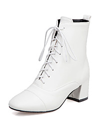 cheap -Women's Boots Chunky Heel Square Toe PU Booties / Ankle Boots Casual / British Fall & Winter Black / White / Party & Evening