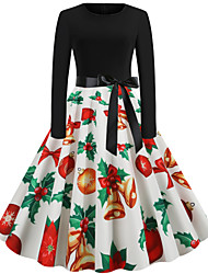 cheap -Women's Snowman Sheath Dress - Long Sleeve Snowflake Print Basic Christmas Party Festival White Red S M L XL XXL