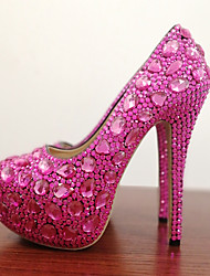 cheap -Women's Wedding Shoes Stiletto Heel Round Toe Crystal / Sparkling Glitter PU Vintage / Minimalism Spring &  Fall / Fall & Winter Fuchsia
