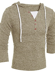 cheap -Men's Solid Colored Long Sleeve Pullover Sweater Jumper, Hooded Fall Wine / Dark Gray / Khaki US36 / UK36 / EU44 / US40 / UK40 / EU48 / US42 / UK42 / EU50