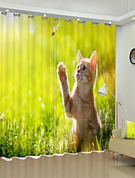 cheap -Dragonfly Catching Kitten Digital Printing 3D Curtain Shading Curtain High Precision Back Silk Fabric High Quality Curtain
