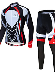 cheap -EVERVOLVE Men's Long Sleeve Cycling Jersey with Tights Winter Fleece Lycra Black / White Bike Clothing Suit Breathable Moisture Wicking Sweat-wicking Sports Mountain Bike MTB Road Bike Cycling